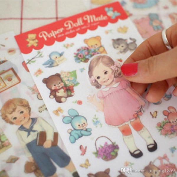 6sheets/pack Paper Doll Mate Deco Sticker Set Kawaii Girl Toy for DIY Scrapbooking Diary Photo Albums Exercise Books Calendar