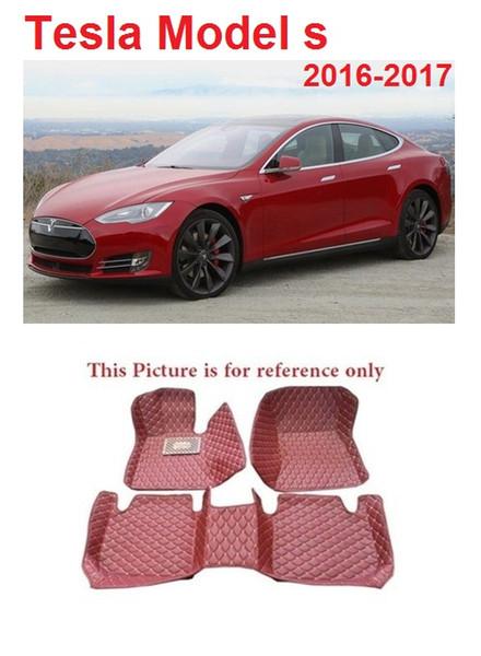 SCOT All Weather Leather Car Floor Mats for Tesla Model S 5Seat 2016-2017 Waterproof Anti-slip 3D Front & Rear Carpets Line Custom-Fit-Black