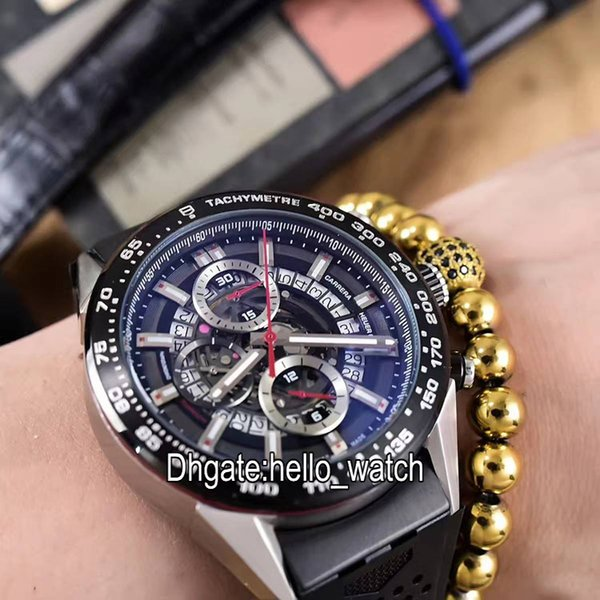 Hot Sell Cheap New Black Dial Skeleton Quartz Chronograph Mens Watch Rubber Strap High Quality Gents Sport Watches Hello_watch