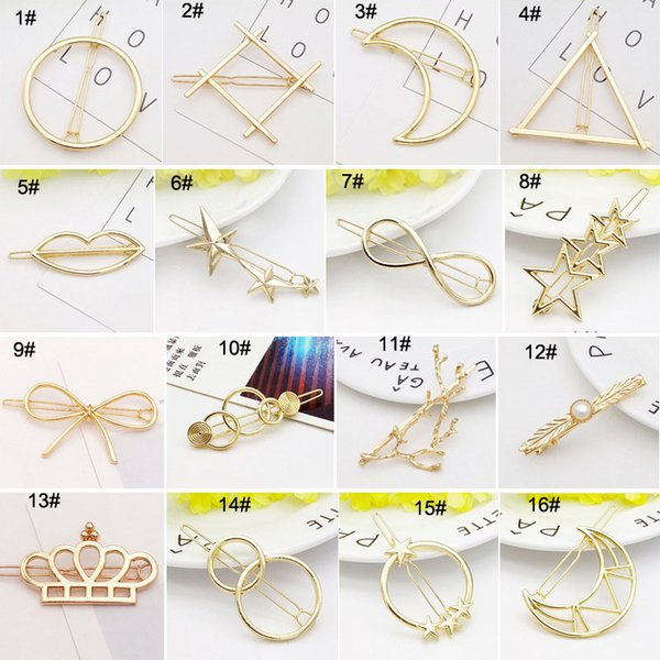 top popular New Promotion Trendy Vintage Circle Lip Moon Triangle Hair Pin Clip Hairpin Pretty Womens Girls Gift Metal Wedding Jewelry Accessories 2019