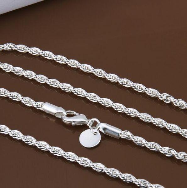 Toptan fiyat 16-24 inç 3mm twisted zincirler kolye 925 ayar sivler takı güzel gümüş kolye için kolye G205