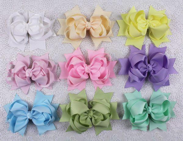 Ribbon bowknot big Hair Bows Clip custom 5inch baby Girl Solid Grosgrain Children hairpins