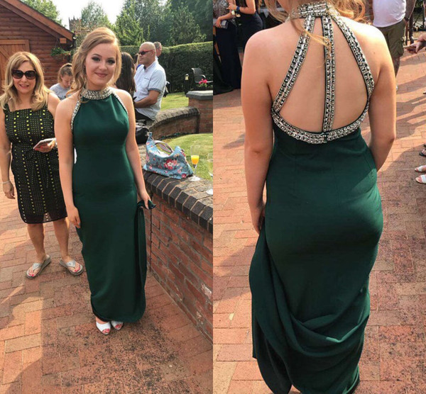 Beaded High Neck Jersey Girls Prom Dresses Long Sparkly Evening Party Dresses Back Straps Sexy Evening Gowns vestido de festa
