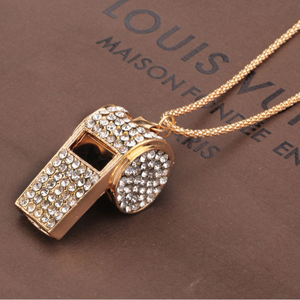 Aleación de color dorado Rhinestone Crystal Whistle suéter largo collar de cadena colgante, joyería de accesorios de las mujeres de belleza envío gratis