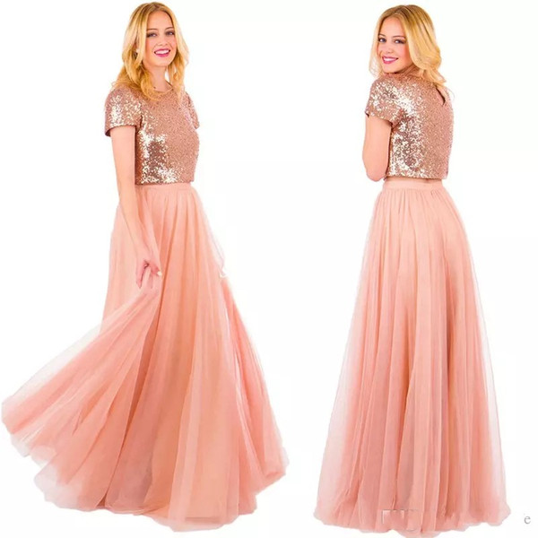 Two Piece Blush Long Tulle Country Bridesmaid Dresses 2017 Rose Gold Sequins Skirt Short Sleeve Jewel Neck Wedding Formal Gowns for Party