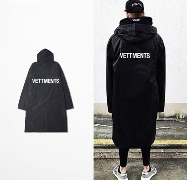Toptan-2016 erkek Vetements Yağmurluk Kanye West Bombacı Ceket Streetwear Uzun Hoodies Erkek Hip Hop Rüzgarlık Boy Marka Giysiler