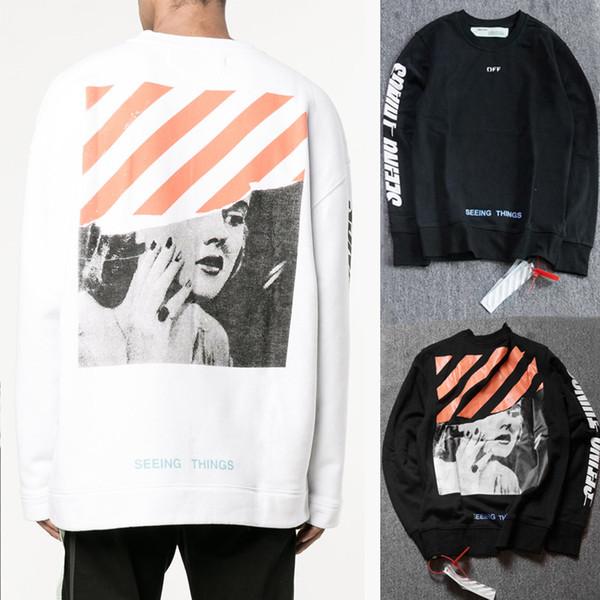 viele möglichkeiten neu kommen an dauerhafte Modellierung Großhandel Off White Marilyn Monroe Sweatshirt Hoodie Vergil Abloh Designer  Streetwear Männer Frauen Weiß Schwarz Sehen Dinge Print Fleece Pullover ...