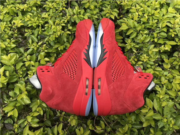 New with box 5 Raging Bull Red Suede Men Basketball Shoes Black blue Sports shoes Sneakers top quality Wholesale Size 8-13