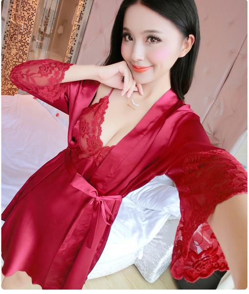 2017 Spring Summer Autumn Women Silk Nightdress Set of Robe & Nightgown Lady Sexy Dress Female Twinset of Sleepwear