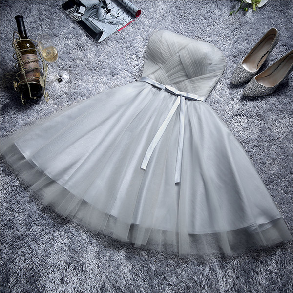 Light Gray Bridesmaid Dresses Knee Length Purple Wedding guest dress Sexy Strapless Lace-up with Zipper Back Knee Length