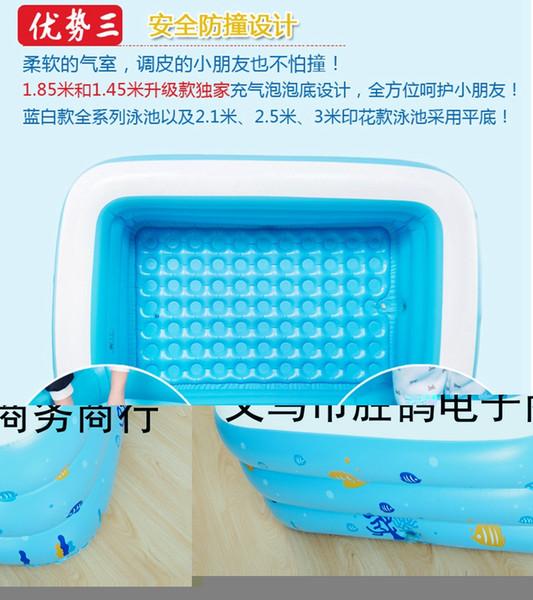 Al por mayor- Gran familia de niños al aire libre de colores de fondo burbuja salpicaduras de adultos piscina inflable Piscina 196x143x60cm