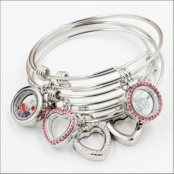 best selling Stainless Steel Expandable Floating Locket Bracelet Bangle Fitting With DIY Floating Charms For Girls