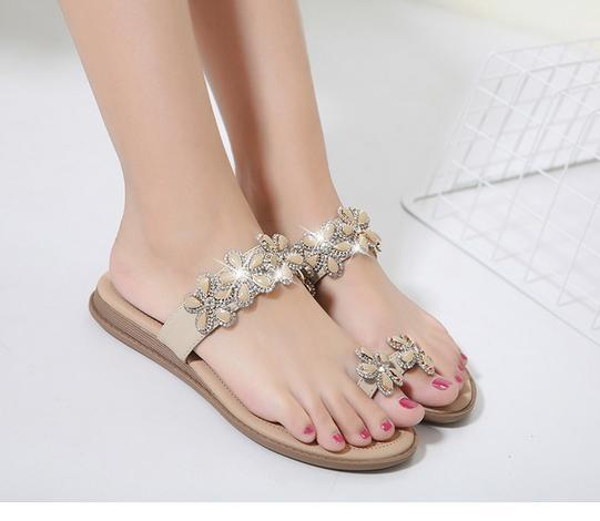 2017 Bohemian flower thong sandals with crystal flat heel slipper women beach sandals size 35 to 40 41