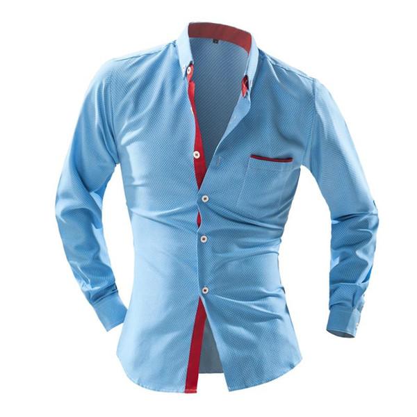 Wholesale- Men Shirt British Wave Point Slim Square Collar Long-Sleeved Shirt Single-Breasted Shirt AT8