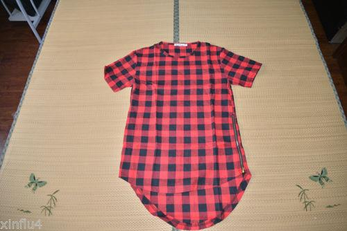 Summer Men's t-shirt Hip Hop Lengthen Red Plaid cotton flannel t shirts / Arc Hem Gold Zipper size M-3XL