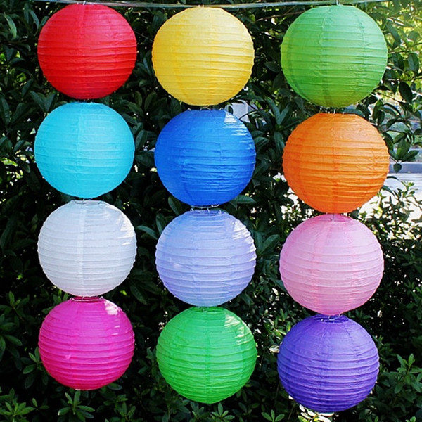 10inch Chinese Paper Lanterns Wedding Decoration Lamps Home Party Garden Wedding Decor Multi Colors Free shipping