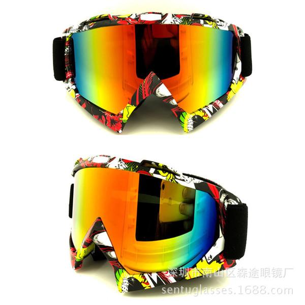 Wholesale- Free Shiping New Motorcycle Bike Racing Dirt Cycling Anti-UV Ski Skiing Goggles Glasses Men Women Glasses Ski Googles 4 Colors
