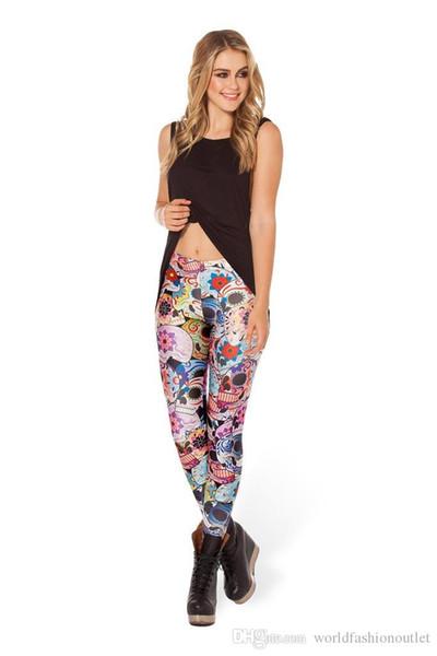 Fashion Skinny Leggings Fashion women pants Sexy Galaxy Leggings Patterned Girl Graffiti Print Leggings Halloween Skull Tights Space pants