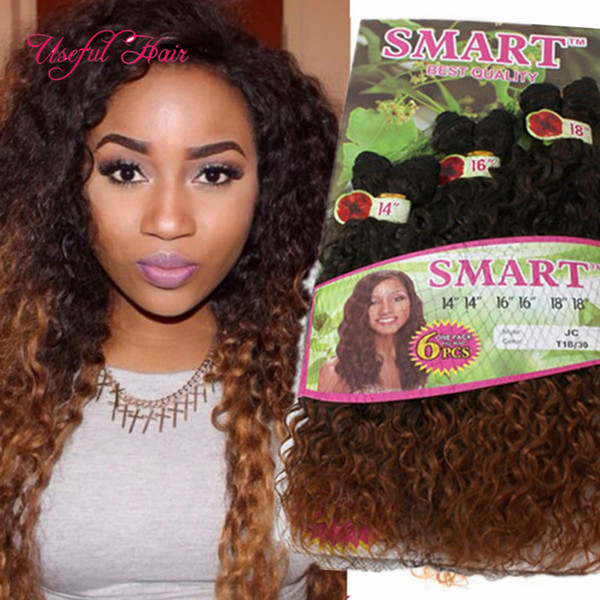 ombr Dark brown color SMART BEST QUALITY synthetic weft hair 6PCS/LOT Jerry curl crochet hair extensions crochet braids hair weaves marley