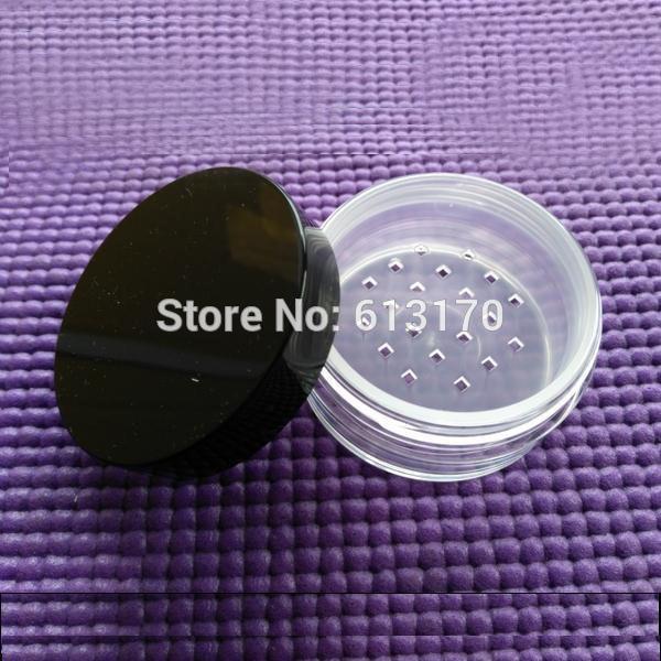 Los tarros flojos del polvo flojo 40ml con la malla del tamiz despejan con el casquillo negro Diy caja de polvo Envases cosméticos 50pcs / lot