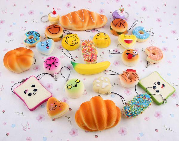 Rising Slow Squishy Rainbow Miniature Food Sweetmeats Ice Cream Cake Bread Fruit Bread Charm Kids Toys Gift 10pcs/Set D265L