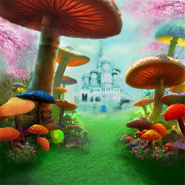 8x8ft Fairy Tale Children Background Photography Colorful Mushrooms Green Grass European Castle Baby Photo Booth Backdrop Studio Props