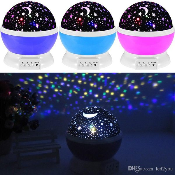 Newest Romantic New Rotating Star Moon Sky Rotation Night Projector Light Lamp Projection with high quality Kids Bed Lamp