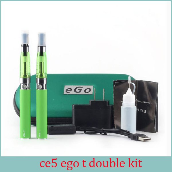 Ce5 double starter kit with ego t battery Electronic Cigarettes 1.6ml no wick Ce5 Vaporizer Ego t Double Zipper Case E cigarette