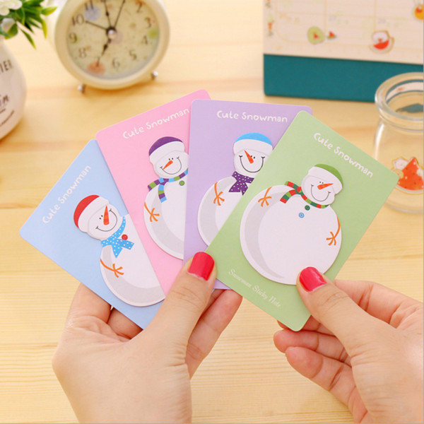 best selling Wholesale- 4 PCS Lytwtw's Korean Sticky Notes Cute Kawaii Snowman Post Notepad Filofax Memo Pads Office Supplies School Stationery Scratch