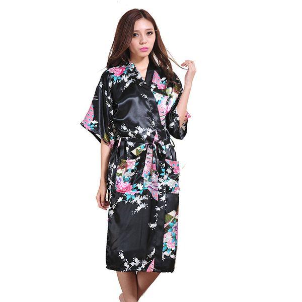 revendeur 3e437 711b6 Online Cheap Wholesale Women Silk Satin Long Wedding Bride Bridesmaid Robe  Peacock Bathrobe Floral Kimono Robe Large Size Dressing Gown Peignoir Femme  ...