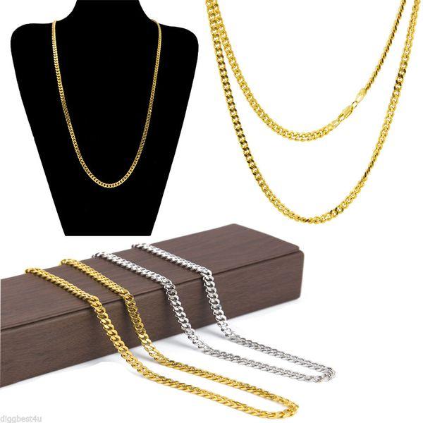 Hombres Mujeres Chapado en oro Collar de Hip Hop Cadena de cobre de Cuba 3 mm 5 mm Collar de cadena de cuerda cubana de oro y plata Joyería de moda Venta al por mayor