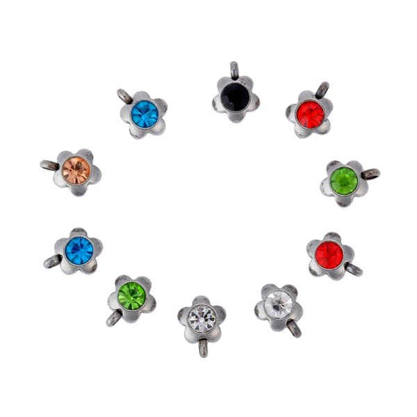 FUNIQUE Stainless Steel Silver Jewelry Findings Charms Pendants Crystal Mixed Random Color Cute Fit Bracelets Diy Making 10PCs