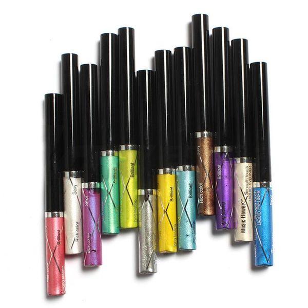 12 pcs / couleurs Musique Fleur Professionnel Shimmer Liquide Eyeliner Crayon Stylo Étanche Brillant Glitter Eye Liner Ombre Maquillage