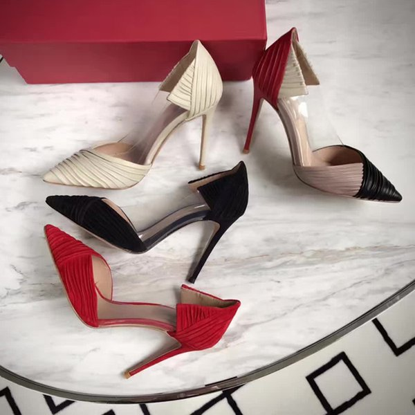 hot! fashion luxury women u734 40 genuine leather transparent 10cm winkle pointy heels pumps summer shoes black sexy red white