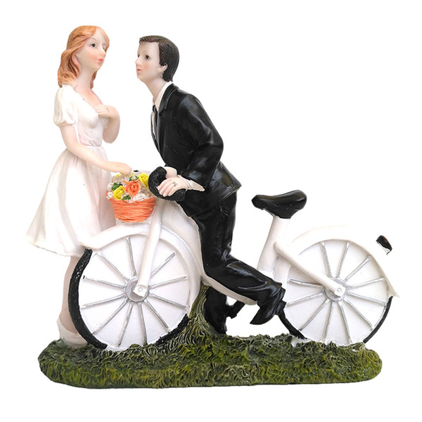 Wedding Cake Topper with Bride and Groom Couple Figurine Bike Wedding Cake Decoration for Wedding Anniversary Party
