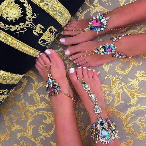 1 STÜCK Trendy Schmuck Hot Multicolor Kristall Strass Fußkettchen Armband Strandurlaub Sandalen Sexy Bein Kette Weibliche Boho Fußkettchen Freies Verschiffen
