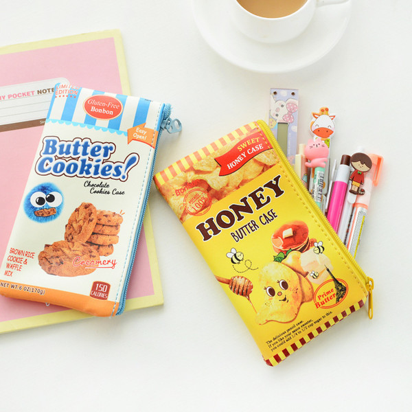 Wholesale-Novelty Biscuit Potato Chips PU Waterproof Pencil Case Stationery Storage Organizer Bag School Office Supply Gift Stationery
