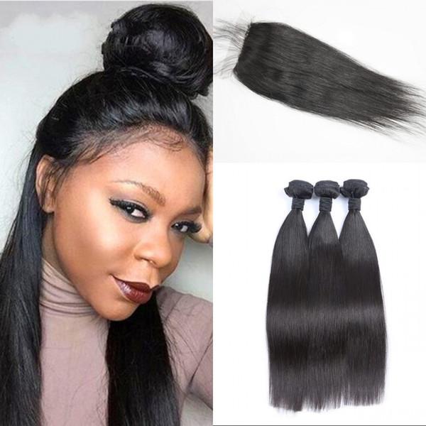Brazilian Virgin Hair with Closure 10-26 inch Straight Human Hair Weaves with Silk Base Closure 4pcs/lot FDSHINE