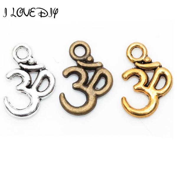 Venta al por mayor-Lotes 100 piezas de Plata Tibetana ohm om Yoga Sign Buddha 3D Charm Colgantes Hallazgos 16mm