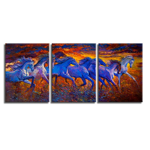 3 Pieces A Portrait of Eight Breed Canvas Oil Painting Prints Running Horse Giclee Art Home Wall Decoration Unframed(30cmx40cmx3pcs)