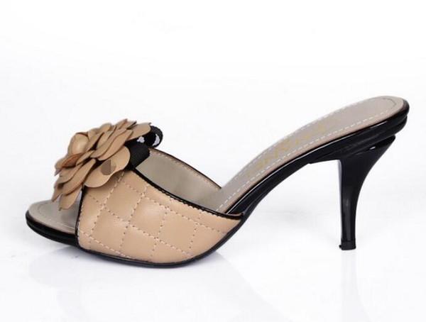 Marchio di qualità superiore Fiori Sandali con tacco alto Pelle di agnello Plaid da donna con tacco alto Scarpe 35-41