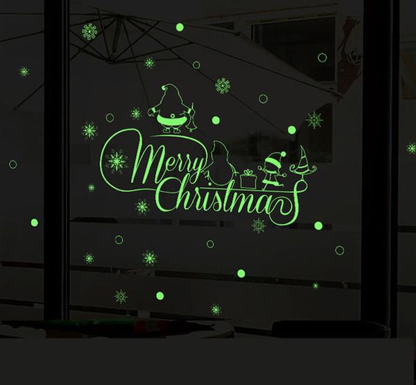 60x50cm Luminoso fai da te adesivi murali di Natale rimovibile decorazione autoadesivo adesivo home decor Buon Natale Shop Window Decoration