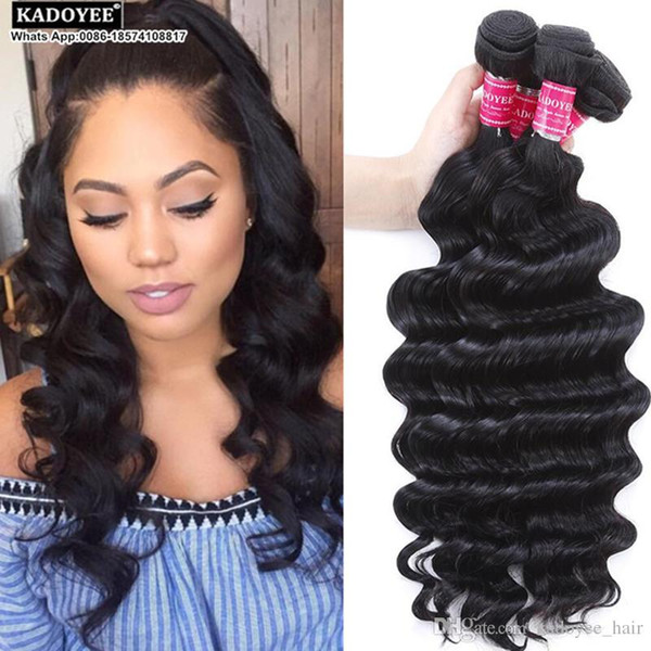 Kadoyee 8a Human Hair Loose Deep Wave 100% Unprocessed Brazilian Virgin Remy Hair Extension Natural Black Soft Texture Thick Healthy End