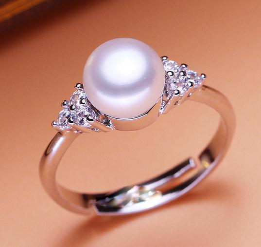 Wholesale 8-9mm white pink purple three colors oblate Natural pearl ring 925 silver JZ0028