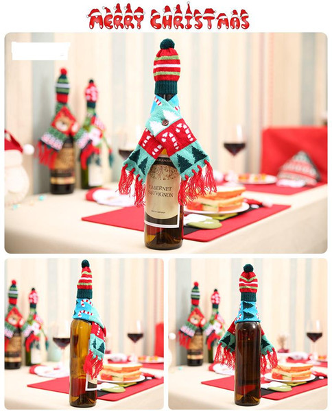 2 pcs/pack Scarf&Hat Knitted Red Wine Bottle Decoration Novelty Scarf Bear Tassel Santa Claus Hat For Christmas Decorations christmas toy