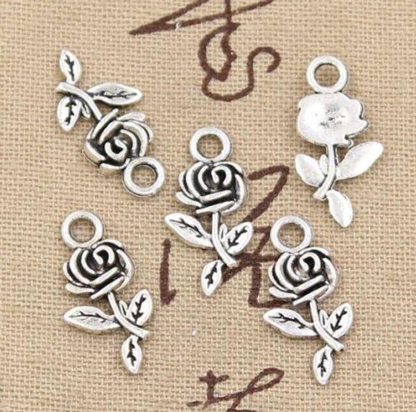 300Pcs Tibetan Silver Rose Flower Charms Pendant for Jewlery Making Bracelet 21mm