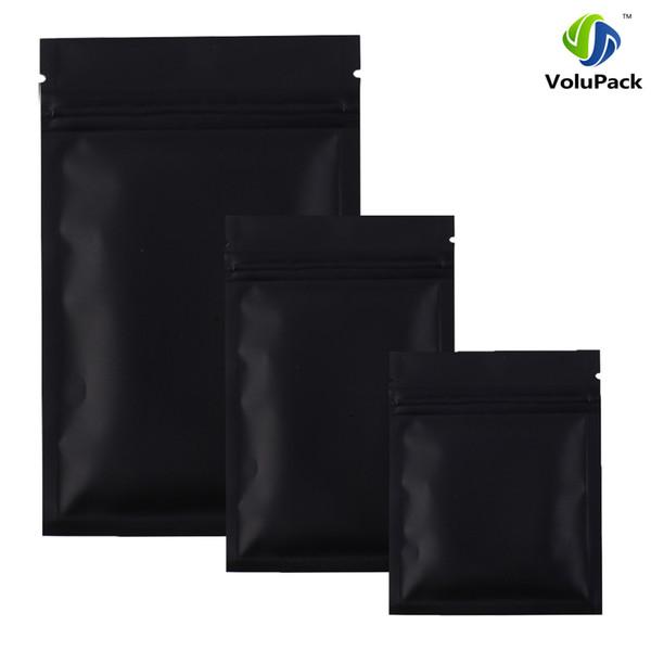 Hohe Qualität 100 X Metallic Mylar-Reißverschluss-Taschen flachen Boden Schwarz Aluminiumfolie kleine Zip-Lock-Plastiktüten