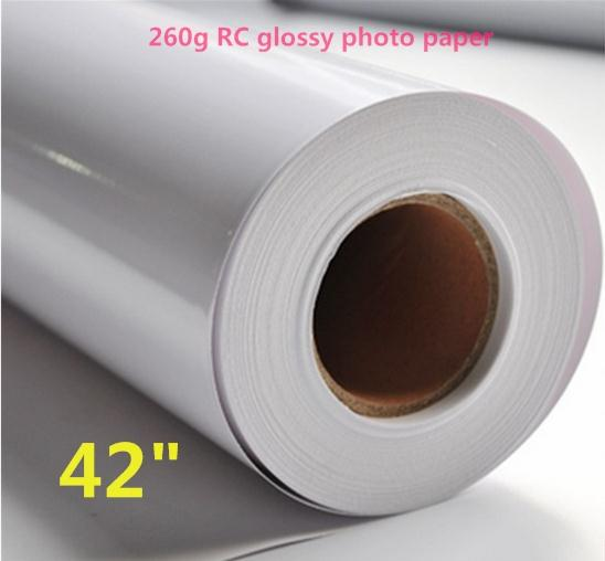 "42""*30m wide format RC Glossy Finish 260gsm Photo Paper rolls"