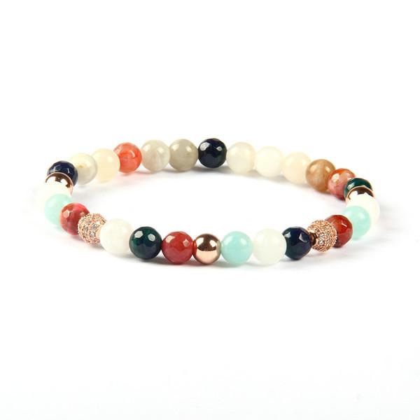 Perle di pietra di colori naturali della miscela di 6mm all'ingrosso dei gioielli di estate delle nuove donne di modo con il braccialetto libero della palla della CZ
