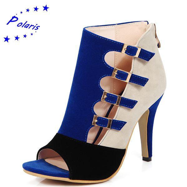 e3eca22f4 Wholesale-Polaris 2016 Women Sandals Plus Size 33-43 Fashion Zip High Heel  Summer Women Pump Shoes Woman Office Black Blue Red SS613